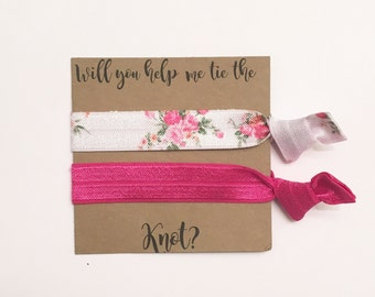 Bridesmaid hair tie favors//white rose & dark pink//hair tie card, elastic hair ties, hair tie favor, party favor, bridesmaid gift, wedding