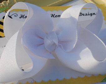 White Bow Headband Baptism Headband Newborn Baby Headband Christening Headband Large White Hair Bow on Headband First Communion Headband