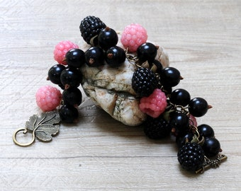 """Bracelet """"blackcurrants and raspberries"""" polimere fimo clay"""
