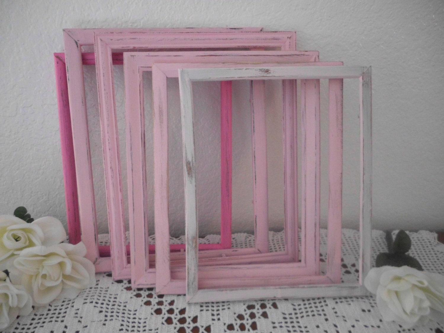 Pink shabby chic picture frame upcycled vintage wood 8 x 10 zoom jeuxipadfo Image collections