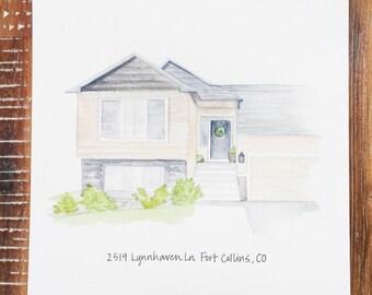 Custom house portrait, custom watercolor illustration, house painting, venue portrait, personalized house portrait, custom watercolor