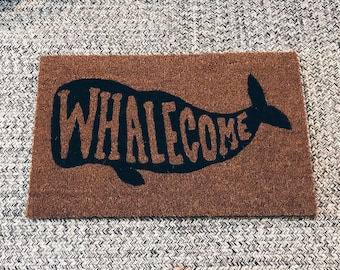 Whalecome Welcome Mat, Nautical, Whale themed gift, Beach Cottage Vibe, black or blue, coastal decor, doormat
