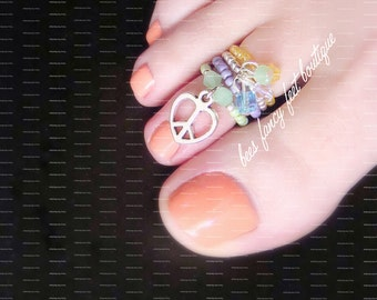 Stacking Toe Ring, Stacking Rings, Peace Charm Ring, Crystal Charm Ring, Stretch Bead Toe Rings
