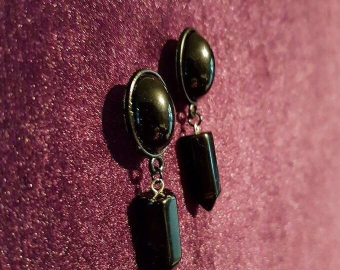 Onyx earstuds - black blackonyx gothic victorian vampire victoriangoth vampiregoth goth occult witch
