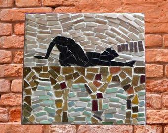 Small painting mosaic cat lagoon