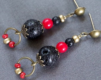 Red Pearl and black lava stone earrings