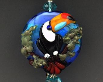 Toucan Dream original  handmade lampwork parrot bead pendant SRA