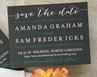 Posh Save The Date Cards -Modern typography,pewter,aqua,white, Custom Wedding Announcements - AA8113