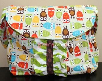 Custom Diaper Bag, Large Diaper Bag, Messenger Bag, Choose your own fabric