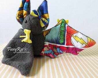 Gray Comics Bat Plush, Plushie, Stuffed Animal, Bat