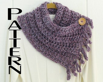 Crochet PATTERN Fringed Button Scarf Pattern Only Cowl Scarflette Neckwarmer