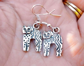 Cat earrings, with funky cat designs. Silver tone cats jewelry. Earrings for the cat lover.