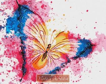 Modern cross stitch kit, Abstract watercolour butterfly, abstract counted cross stitch kit, butterflies