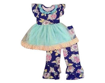 Girls Ice Blue Twirl Top with Ruffle Floral Pants