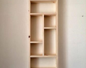 Handmade 10 compartment tall wall shelf, pigeon hole shelf