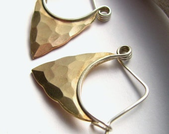 Small Silver And Bronze Hoops, Bronze And Sterling Silver Pixie Earrings, Blade Hoop Earrings, Mixed Metal Earrings, Arrowhead Earrings