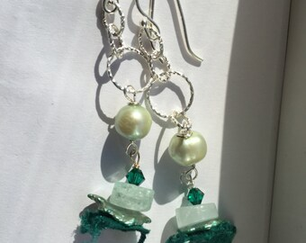 Boho, Honeydew Pearl, Aquamarine Silver Dangle Earrings, Gifts for Her, Jewelry, Lilyb444