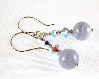 Blue Lace Agate Earrings, Swarovski Crystals, Sterling Silver, Light Blue Earrings, Gemstone Earrings