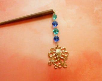 sale - Disco Octopus - aqua, blue, and gold ocean hair stick