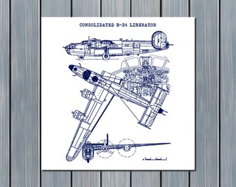 "B24 Liberator Blueprint, Consolidated B-24 Liberator, Airplane Blueprint, Aircraft Decor, Blueprint Art, Instant Download, 11.5x11.5"","
