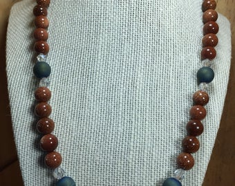 Natural Blue Agate and Sandstone Beaded Necklace