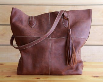 Soft Leather Tote with Tassel