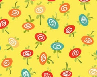 """End of Bolt 1 Yard 20.5"""" Knock Knock Yellow Flower Toss by Dana Brooks for Henry Glass"""