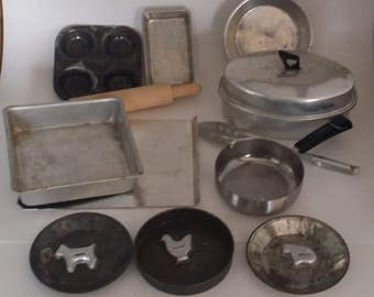 Vintage Child's Aluminum Tin Cooking Pots, Pans and Utensils --16 pieces -- Roaster with Lid, Muffin Tin, Cake Pans, Cookie Sheet & Cutters