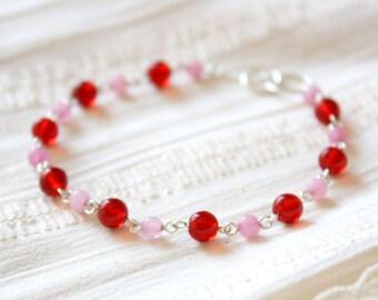 Red Berries Bracelet - Red Pink Colored Jade Glass Beaded Bracelet, Sterling Silver Jewellery Handmade by Ikuri immortelle, FREE SHIPPING