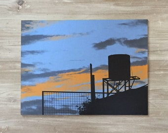 STORMY WATERTANK - 300x225mm limited edition hand pulled screen print on plywood - Silhouette art print / wall art