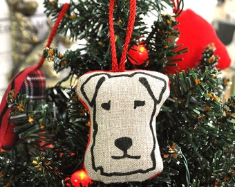 Terrier Head Christmas Decoration - Natural Linen