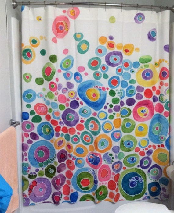Colorful Shower Curtain Inner Circle Bubbles Abstract