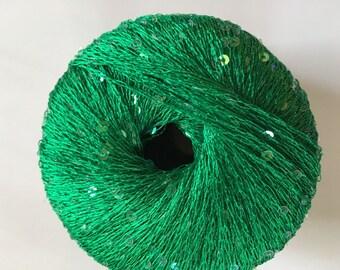 KFI Schmaltz #11 Green Sequin Thread Carry-Along Yarn Tiny Sequins 50gr 284yds Knitting Fever