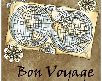 Bon Voyage original greeting card handmade 15cm x 15cm