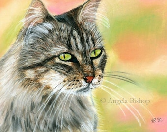 Original Cat Painting, Cat, Pet, Wildlife, Nature, Animal, Drawing, In the Garden, Original Painting, Pastel, Fine Art, Painting