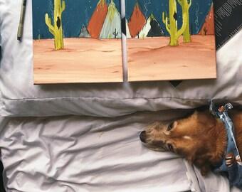 Moon Phase || Desert Cactus Series || Canvas #2