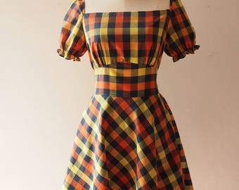 Happily Ever After - Checkered Dress Puff Sleeve Dress Swing Dance Dress Gingham Dress Multicolor Summer Vintage Sundress