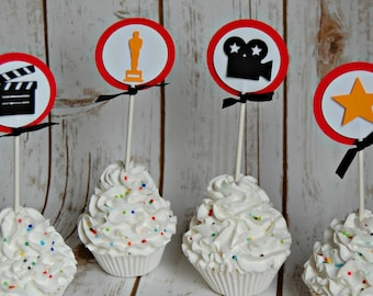 Movie Star Themed Birthday Party Cupcake Toppers (set of 12), Hollywood Party, DIY Kit or Completed