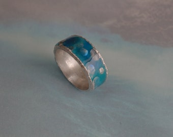 Silver ring hand-painted with bold points hand-forged sterling silver with fresh blue COLORIT fashionable artistic jewelry