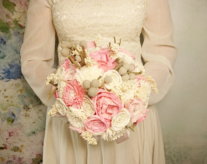 READY to SHIP Cream and pink rustic wedding BOUQUET made of sola flowers