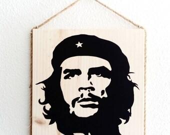 Panel portrait Che raw wood, wall hanging, vintage decor, cuba