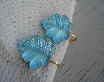 SALE Vintage Aqua Glass Leaf Leaves Gold Clip Earrings Half Frosted Arctic Ice