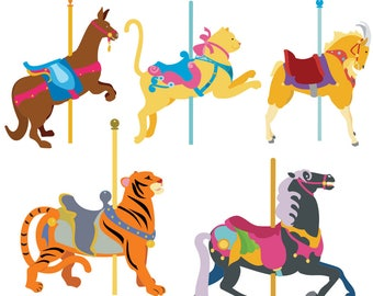 Carousel Animal Clipart, Carousel Clip Art, Animal Clipart, Carousel Horse Clipart, Tiger Clipart, Cat Clipart, Goat Art, Digital Download