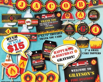 Fireman Self-Editing Birthday Decorations-Firetruck Birthday Decor-Fireman Party Decorations-Firetruck Party Printables-Firefighter Birthday