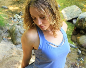 Peekaboo Tank Top-Strappy top-unique tops-light blue shirt-bohemian top-festival tops-yoga tops-womens shirts-halter top-halter tank-funky