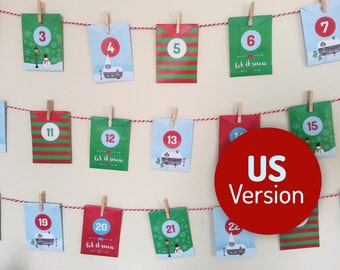 Acts of Kindness printable Advent Calendar US Version - 24 Good Deed cards in mini envelopes. Instant download, Christmas Village design