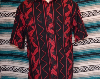 Vintage Wrangler Western Button Front Shirt Leaf Black and Red Large