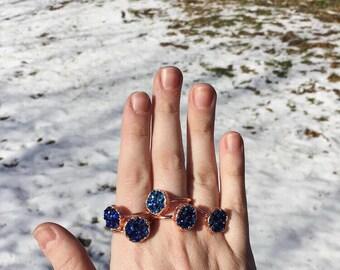 Faux Druzy Copper Ring, Druzy Jewelry, Boho Ring, Hippie Ring, Electroformed Ring, hippie jewelry, boho jewelry, copper jewelry, geode ring