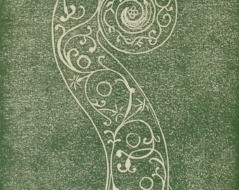 """Hand pulled Linocut print of a decorated Stradivari violin scroll, the """"Hellier"""" (both the name of the violin and this print)"""