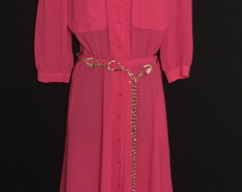 Hot Pink Chiffon Shirt Dress          VG100